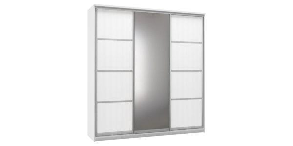 Шкаф-купе трехдверный Верона 223 см (белый/зеркало)