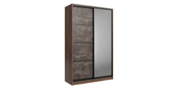 Шкаф-купе двухдверный Лофт 160 см (дуб крафт табак/бетон темный +зеркало)