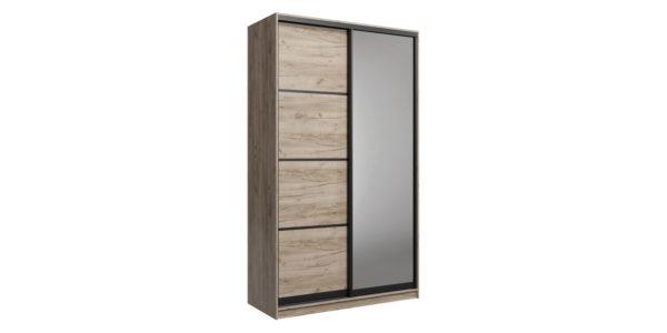 Шкаф-купе двухдверный Лофт 160 см (дуб крафт серый+зеркало)