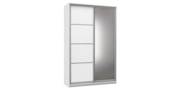Шкаф-купе двухдверный Верона 150 см (белый/зеркало)