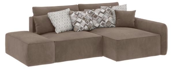 Модульный диван Портленд вариант №3 Soft темно-бежевый (Вел-флок