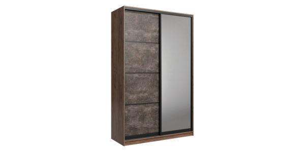 Шкаф-купе двухдверный Лофт 180 см (дуб крафт табак/бетон темный +зеркало)