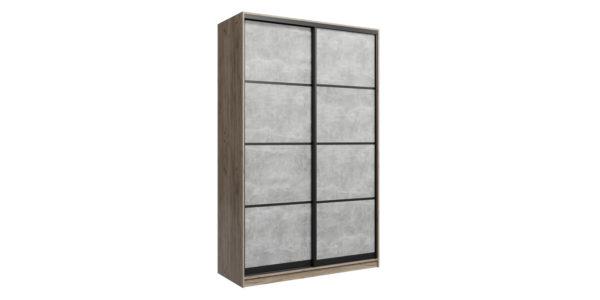 Шкаф-купе двухдверный Лофт 160 см (дуб крафт серый/бетон серый)