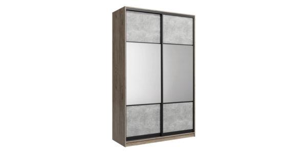 Шкаф-купе двухдверный Лофт 160 см (дуб крафт серый/бетон серый/зеркало)