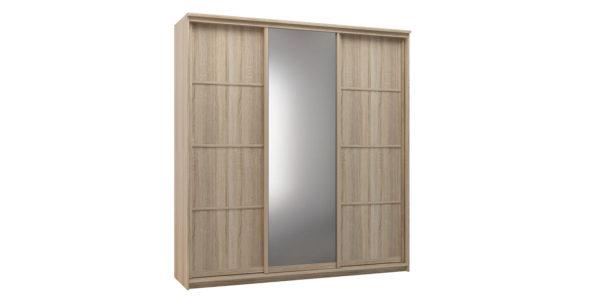 Шкаф-купе трехдверный Верона 223 см (дуб сонома/зеркало)
