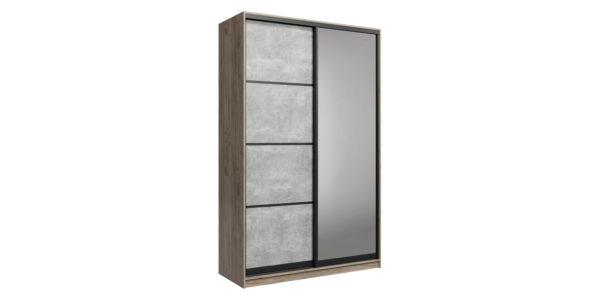 Шкаф-купе двухдверный Лофт 160 см (дуб крафт серый/бетон серый +зеркало)
