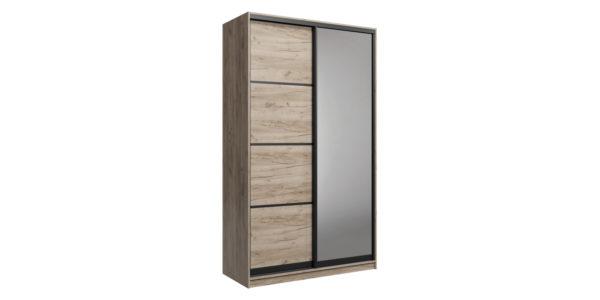 Шкаф-купе двухдверный Лофт 180 см (дуб крафт серый +зеркало)