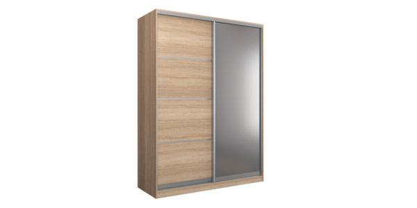 Шкаф-купе двухдверный Манхеттен 180 см (сонома+зеркало)